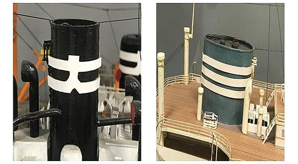 Old ship funnel Mitsui and Osaka