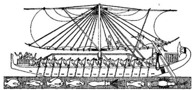 A sailing ship from around 1470 B.C.