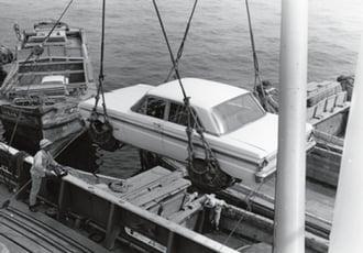1950-60年代 在来貨物船での荷役風景