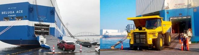 自動車専用船 ショアランプから積載される自動車