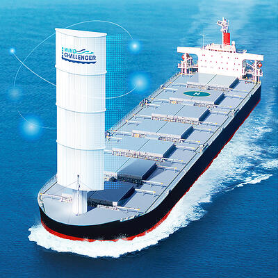 Wind Challenger with stretchable sails installed on a bulker (to come into service in 2022)